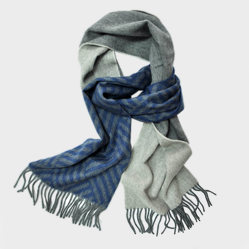 Dashing Geo's Wool Scarf in Blues & Greys