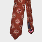 Medallions Bottle Neck Tussah Silk Tie in Rusty Brown