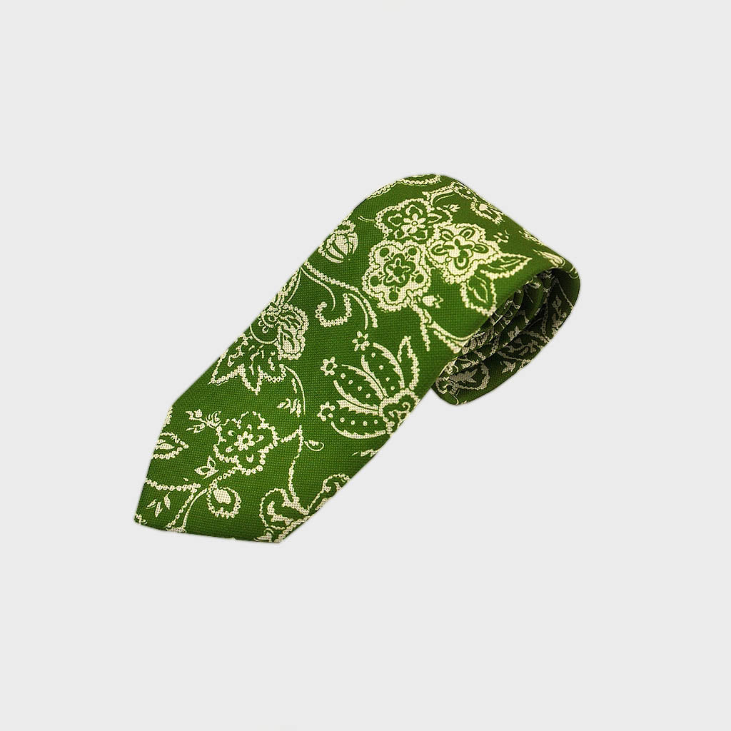 Floral Silk Tie in Lawn Green