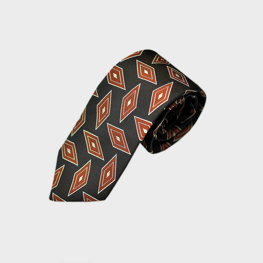 Dynamic Diamonds Bottle Neck Woven Silk Tie in Brown & Rusty Brown