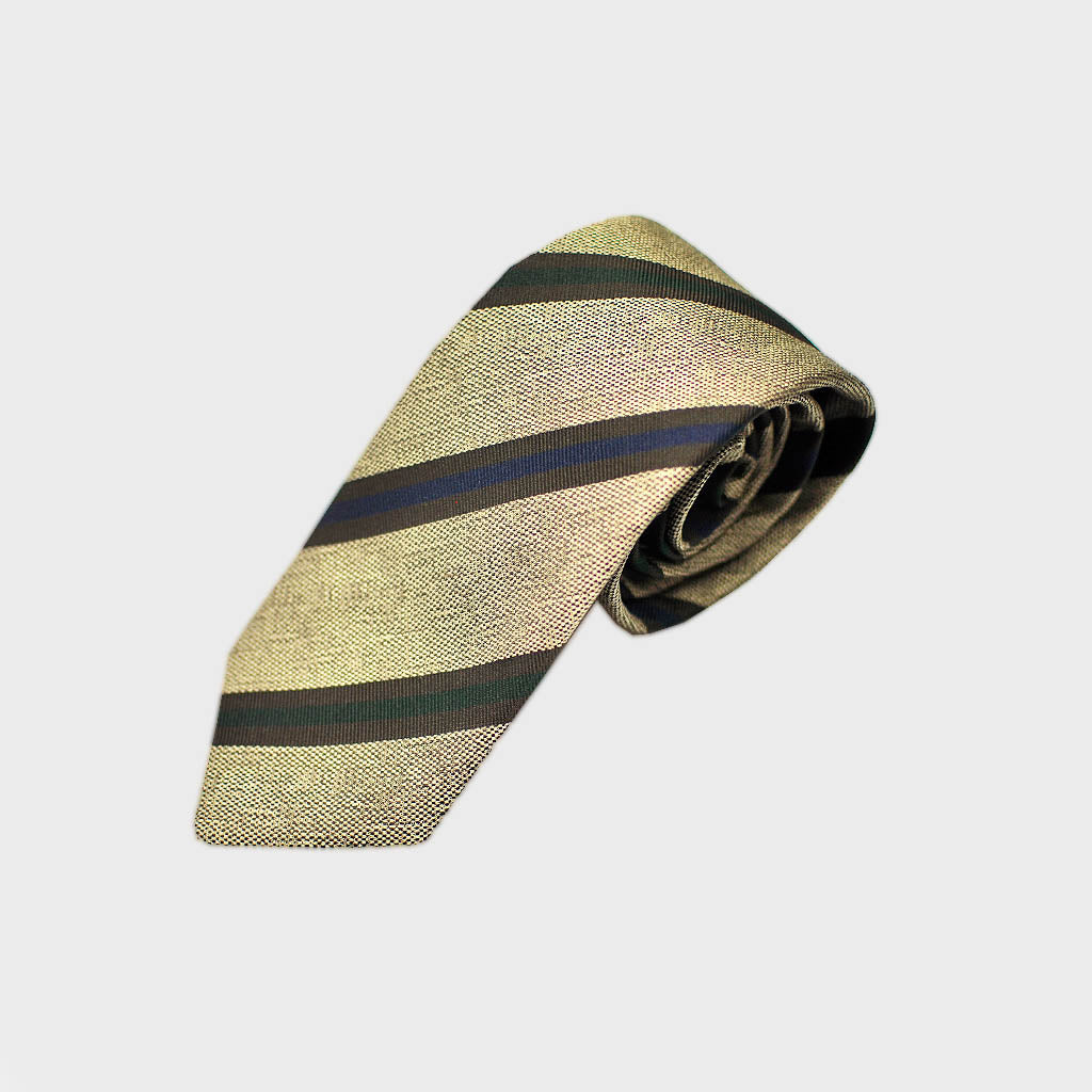 Striped Bottle Neck Silk Tie in Fawn Brown & Colours