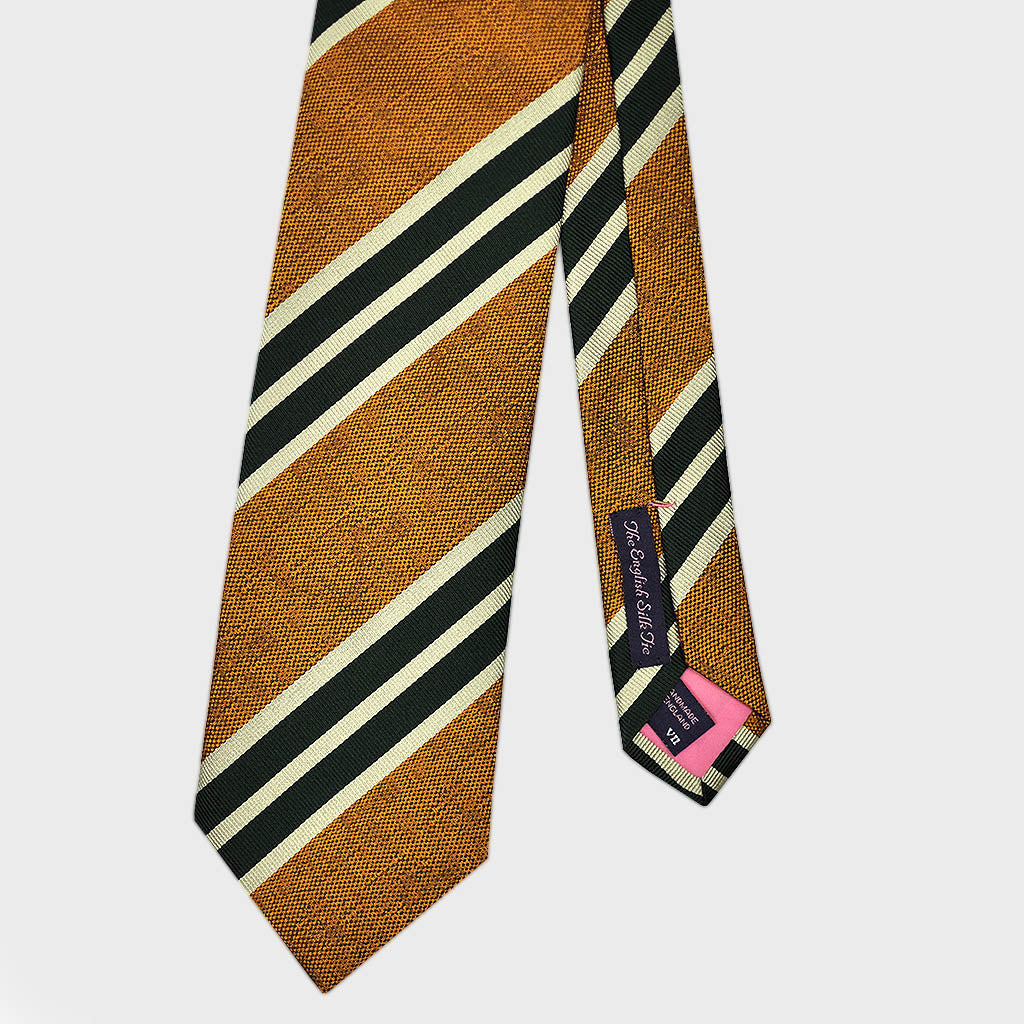 Blocks & Stripes Bottle Neck Silk Tie in Gold & Green