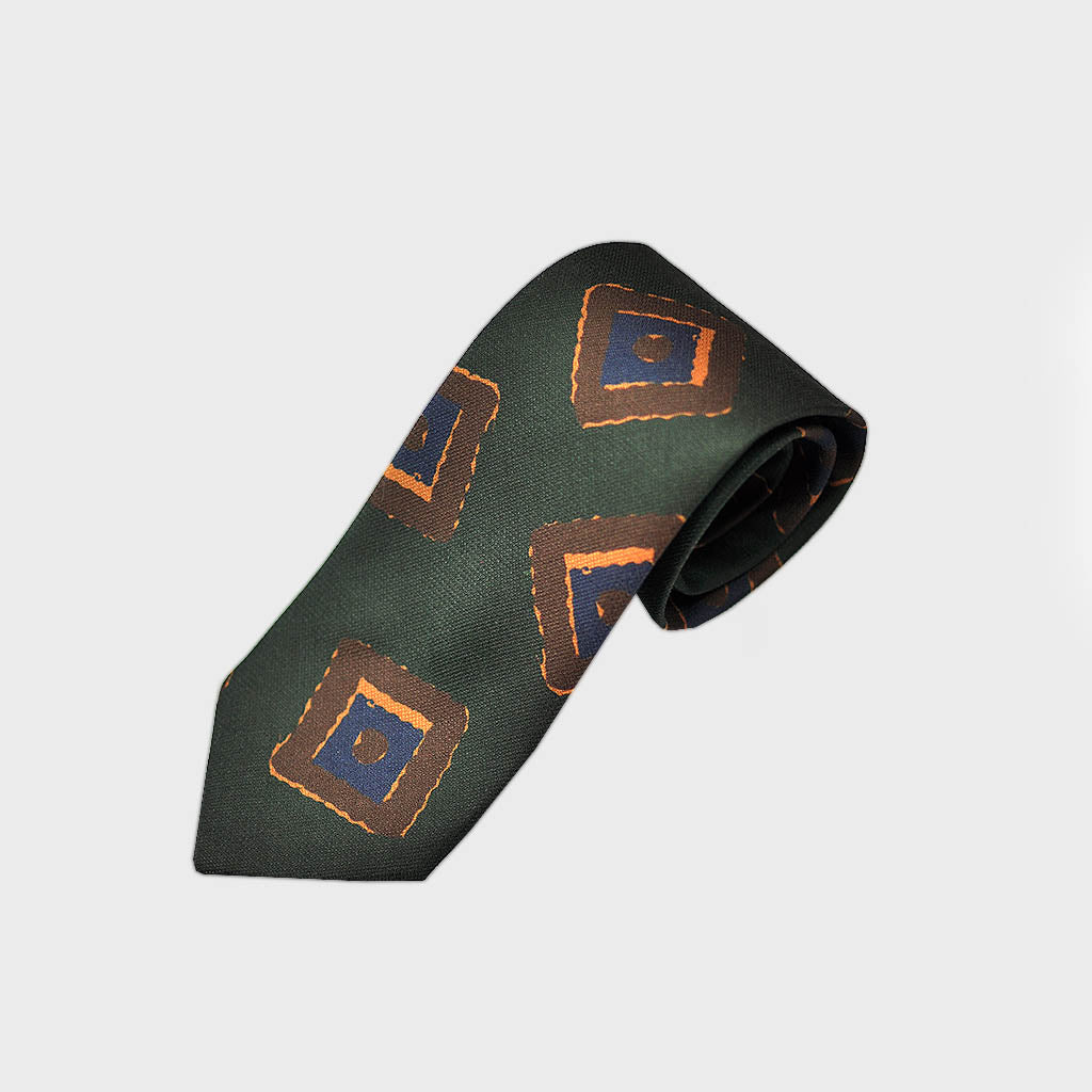 Geometric Daub Bottle Neck Raw Silk Tie in Green & Brown