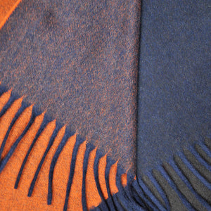 Four Panels of Colour Cashmere Scarf in Orange, Brown, Blue