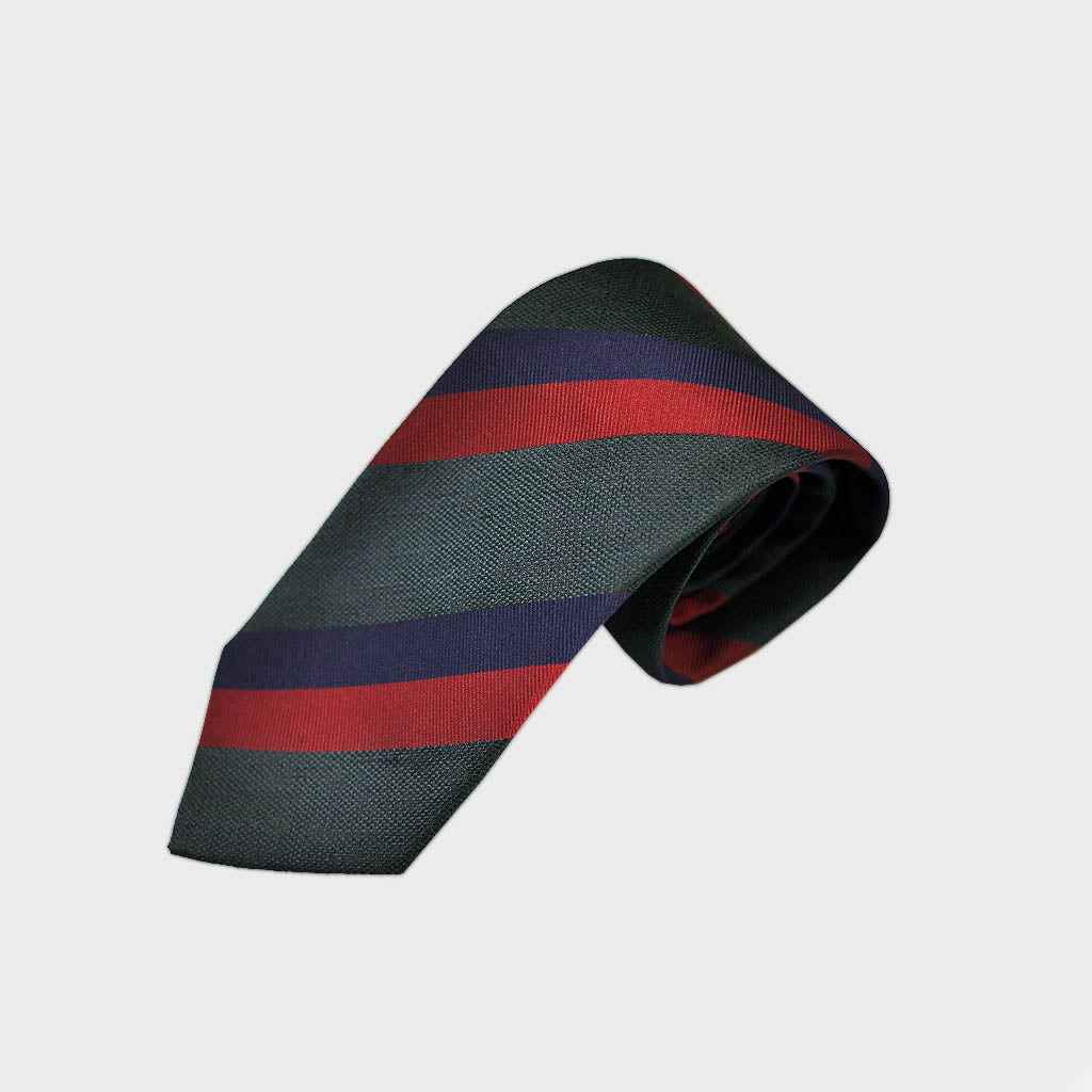 Regimental Stripe Bottle Neck Silk Tie in Green, Red & Blue