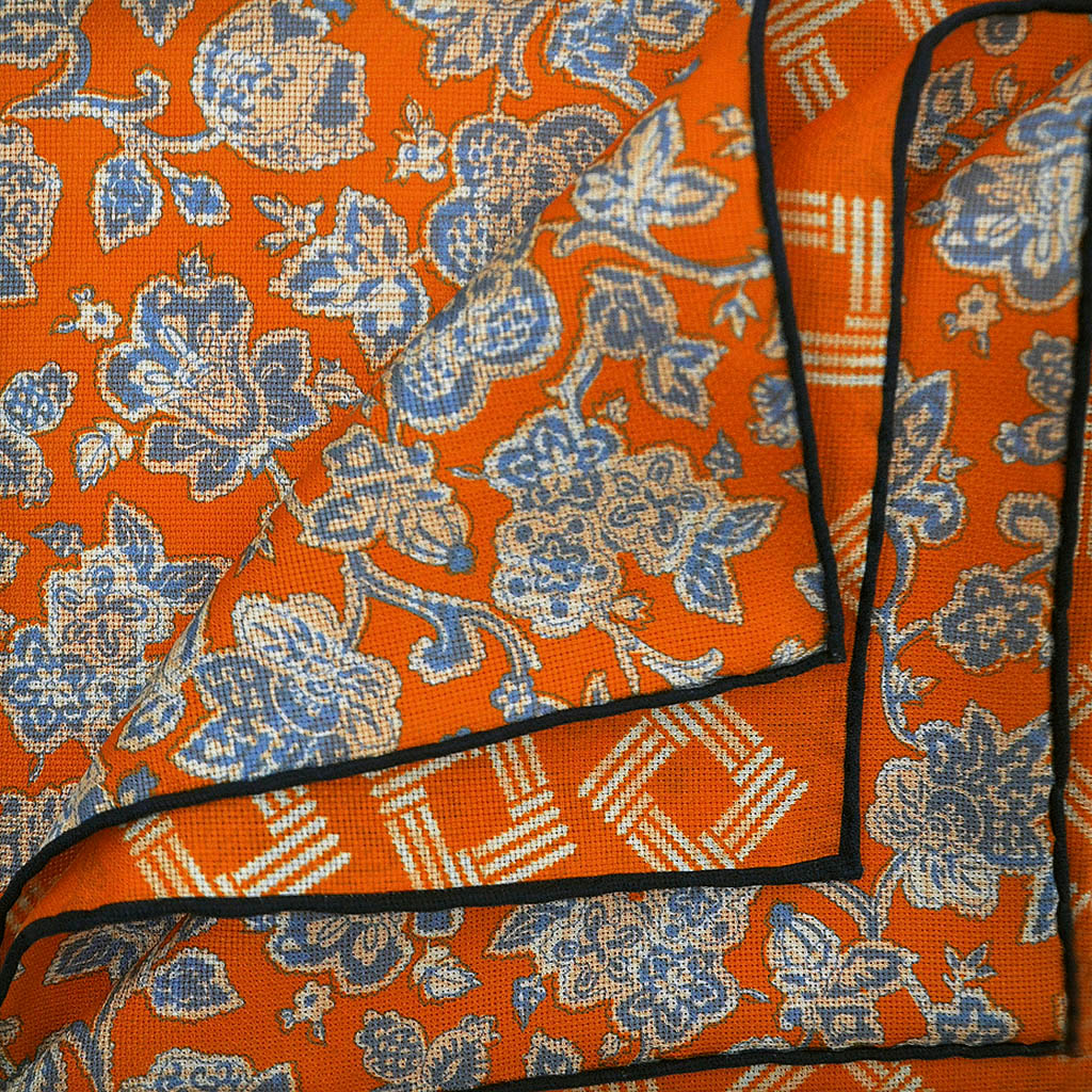 Geo's & Floral's Reversible Panama Silk Pocket Square in Sunset Orange & Cobalt Blue