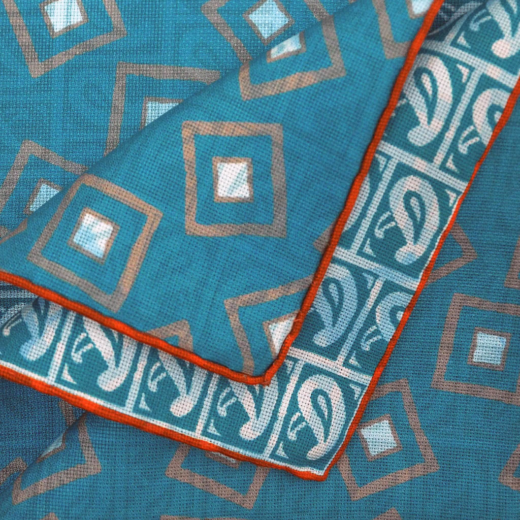 Teardrops & Squares Reversible Panama Silk Pocket Square in Teal