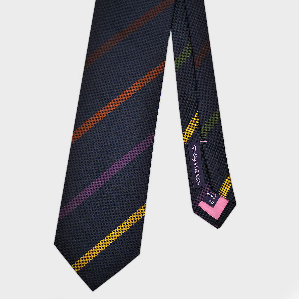 Mellow Stripes Bottle Neck Silk Tie in Navy
