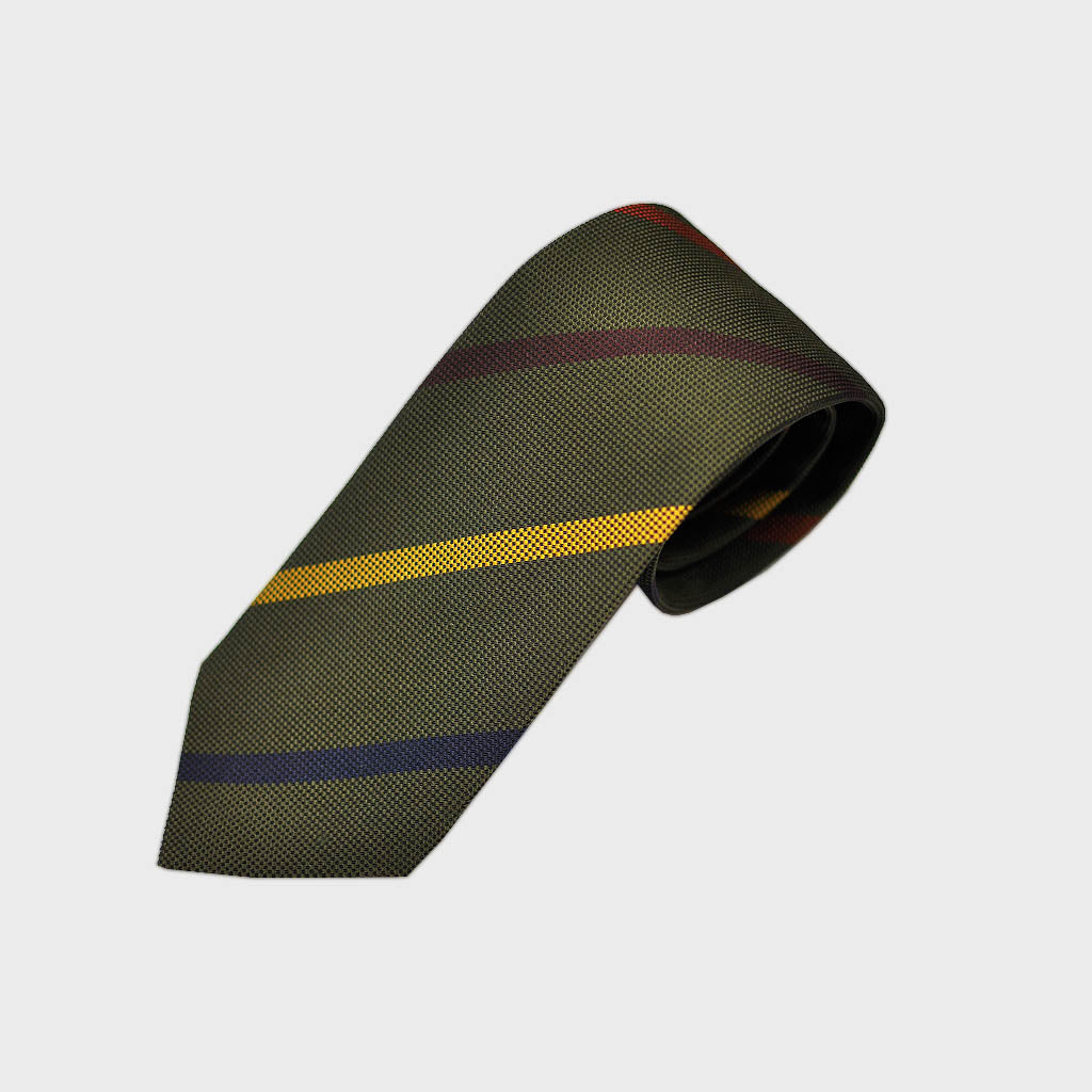 Mellow Stripes Bottle Neck Silk Tie in Green