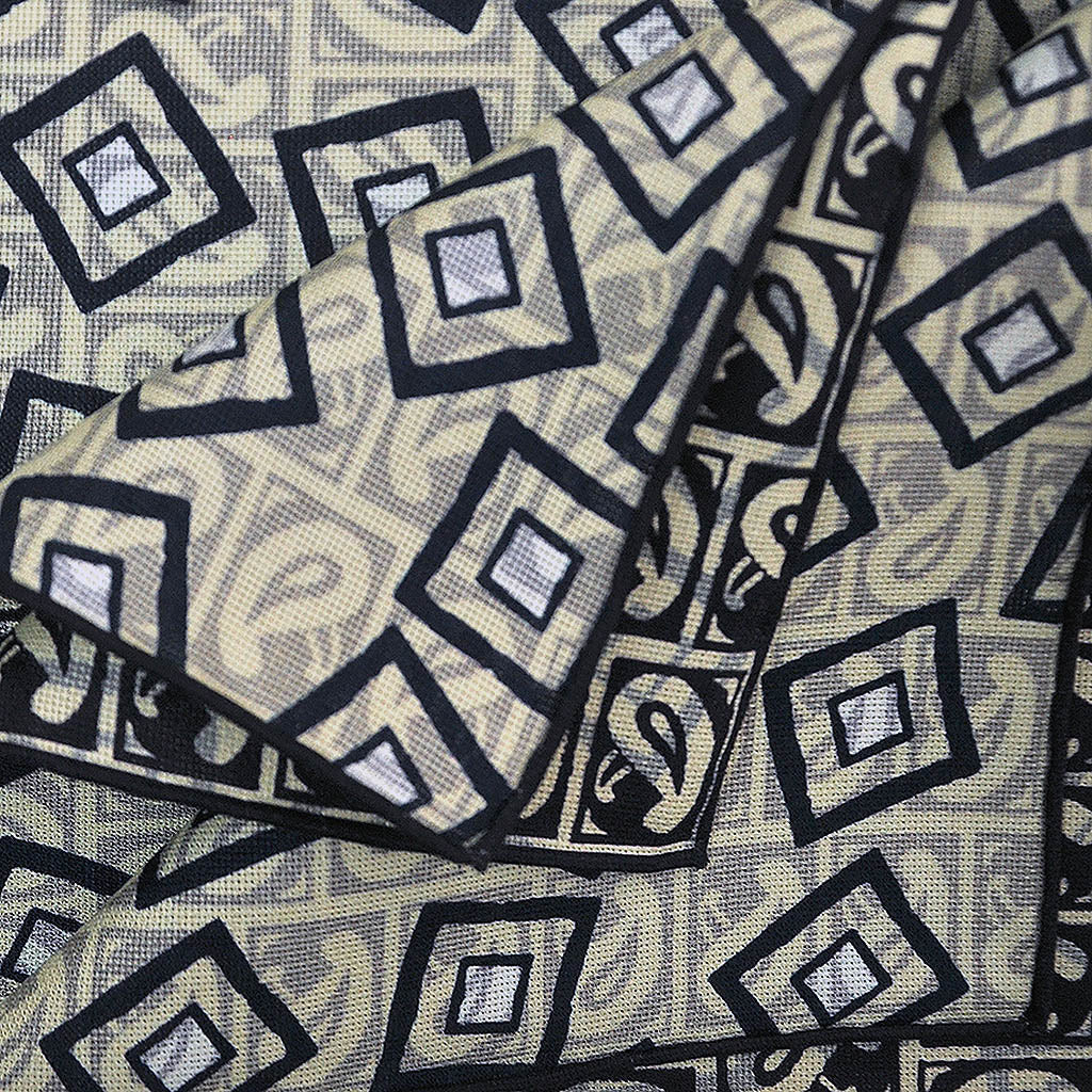 Teardrops & Squares Reversible Panama Silk Pocket Square in Midnight Blue