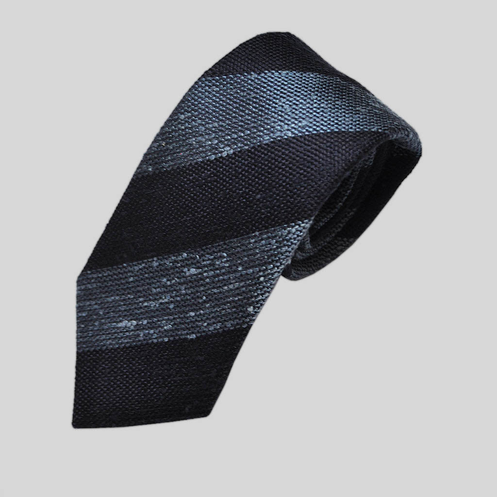 Bold Blue Stripes Slub Wool Tie