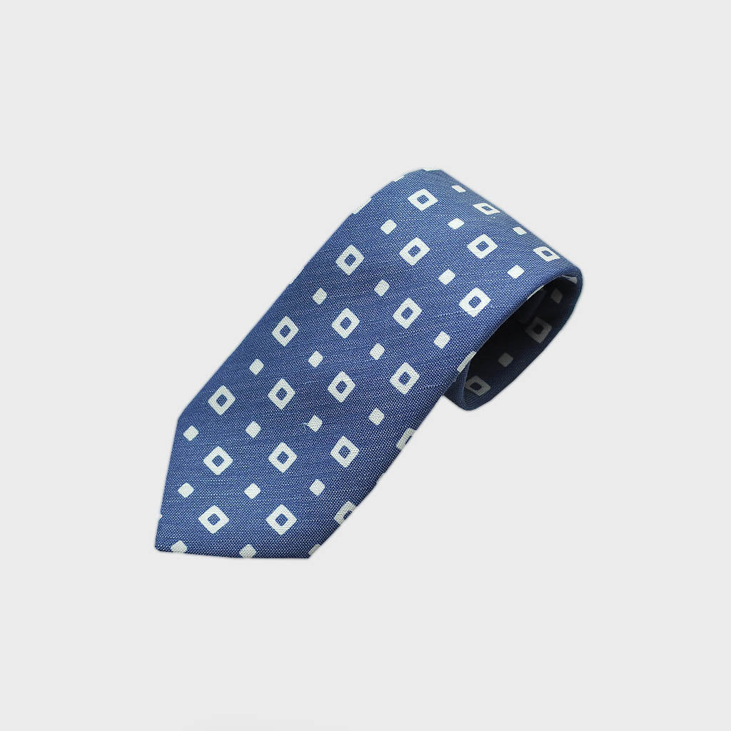 Square Shapes Silk & Linen Tie in Blue