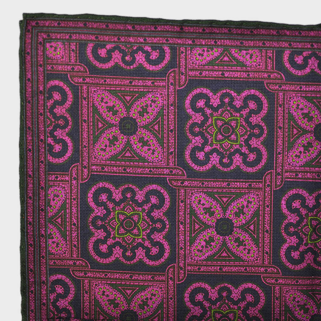 Florets & Medallions Reversible Panama Silk Pocket Square in Pink & Brown