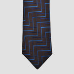 English Woven Silk Zig Zag Steps Tie in Brown & Teal