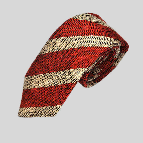 Bold Red Stripes Slub Wool Tie