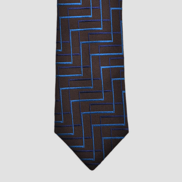 English Woven Silk Zig Zag Steps Tie