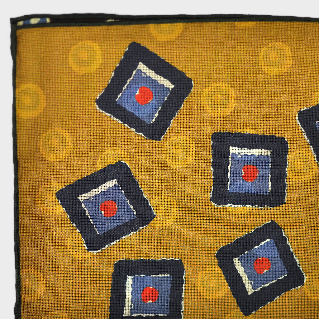 Squares & Circles Reversible Panama Silk Pocket Square in Ochre & Brown