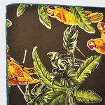 Macaw English Silk Pocket Square in Brown & Gold