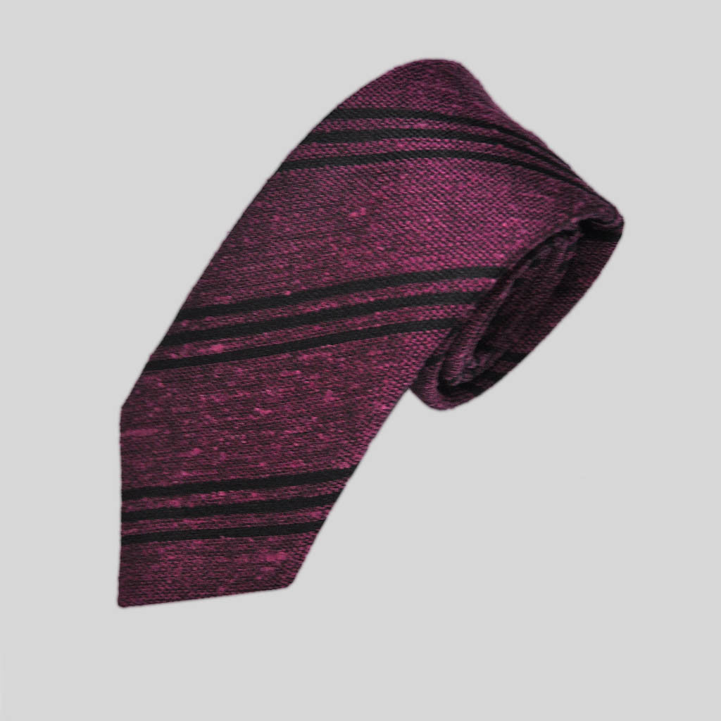 Narrow Stripes Slub Wool Tie in Purple & Navy