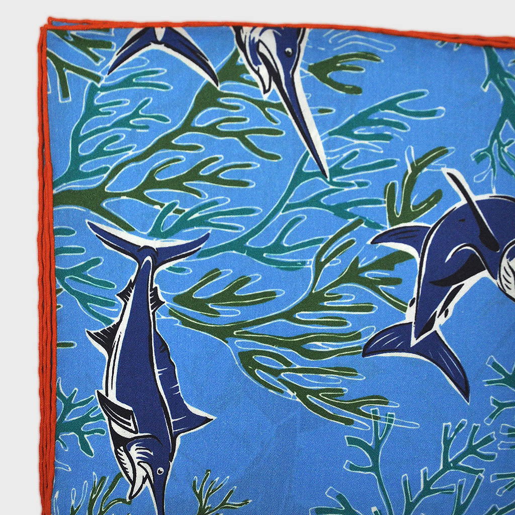 Marlin English Silk Pocket Square in Ocean Blue (obviously..)