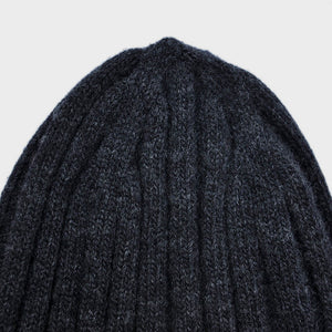Wool Beanie in Charcoal Grey & Warm Yellow