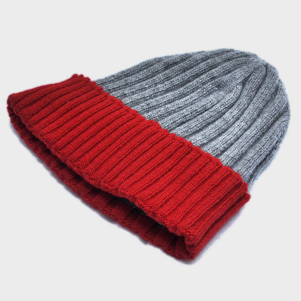 Wool Beanie in Light Grey & Warm Red