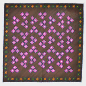 Geo's & Brushed Stripes Reversible Panama Silk Pocket Square in Brown & Pink