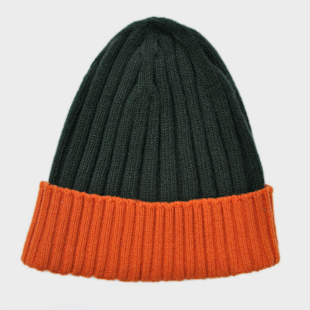 Wool Beanie in Bottle Green & Warm Orange