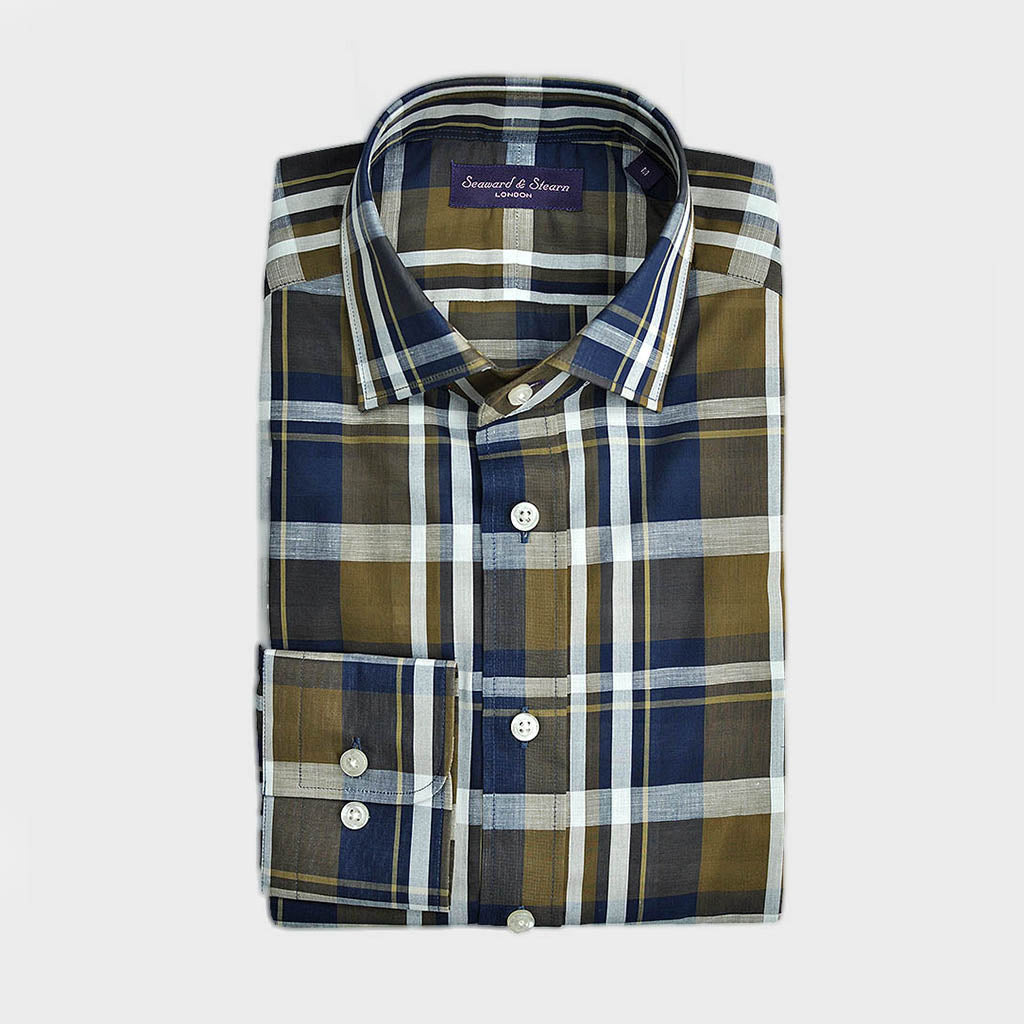 Classic Collar Plaid Fine Cotton & Linen Blend Shirt in Blue, Olive & White