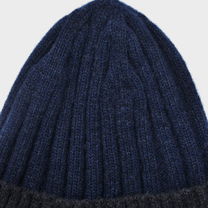Wool Beanie in Denim Blue & Dark Grey