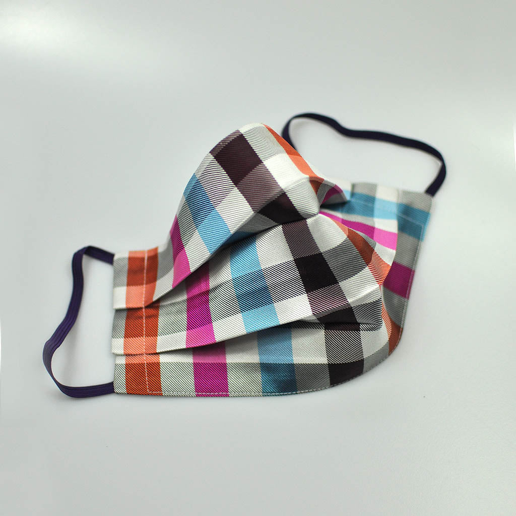 Colourful Checks Silk Face Cover