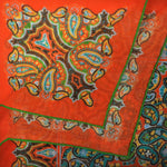New Paisley Cotton & Cashmere Pocket Square in Tangerine Orange & Teal