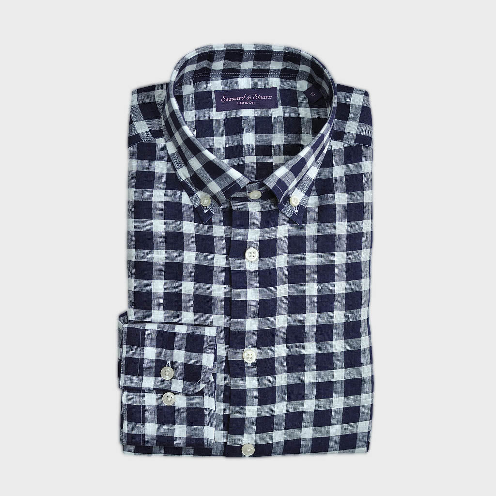Button Down Check Linen Shirt in Blue Shades & White