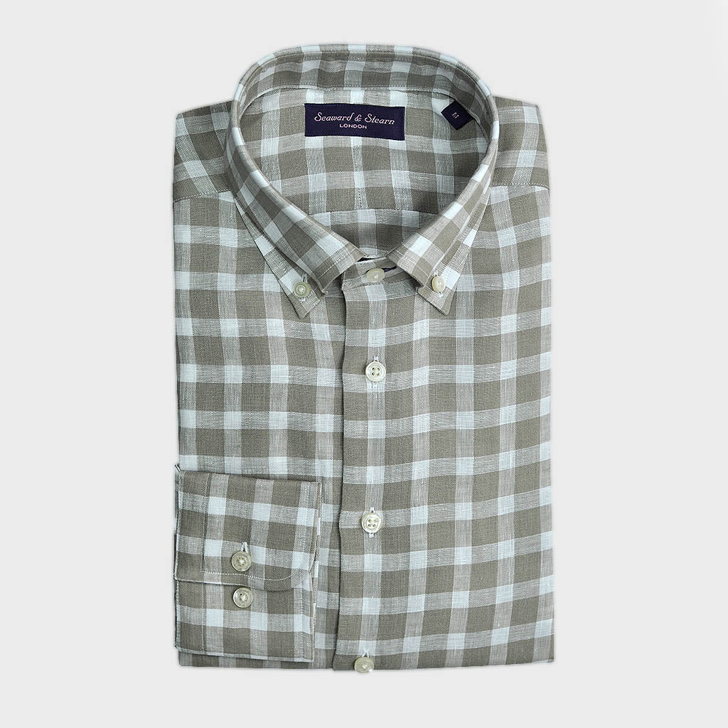 Button Down Check Linen Shirt in Light Olive Shades & White