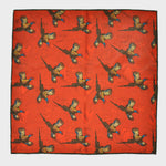 Pheasant in Sunset Orange and Autumnal Leaves Reversible Panama Silk Pocket Square