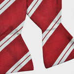 English Reppe Silk Bow Tie with Red & White Stripes
