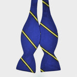 English Reppe Silk Bow Tie with Royal Blue & Yellow Stripes
