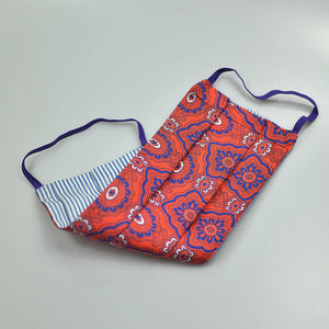Paisley Shapes Silk Face Cover in Warm Orange