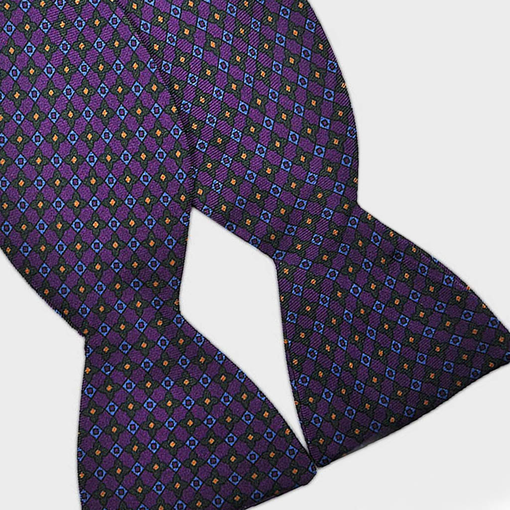 English Printed Silk Repeat Motif Bow Tie in Purple & Green