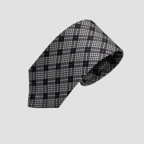 English Woven Silk Plaid Tooth Tie