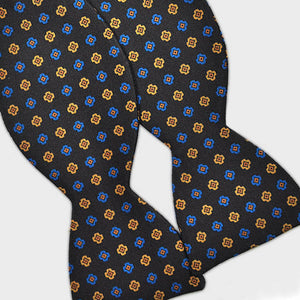 English Printed Silk Repeat Motif Bow Tie in Brown