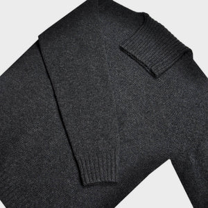 Chunky Merino Wool Classic Roll Neck in Charcoal