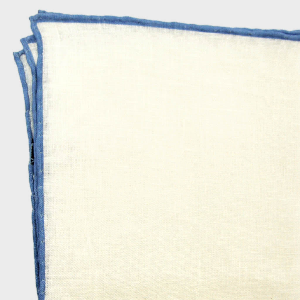 White Linen Pocket Square with Cobalt Blue Piping