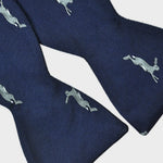 English Woven Silk Jumping Hare Bow Tie Navy & Grey
