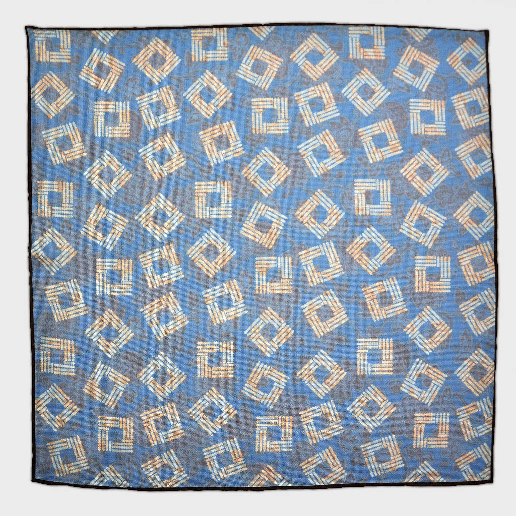 Geo's & Floral's Reversible Panama Silk Pocket Square in Cobalt Blue & Sunset Orange