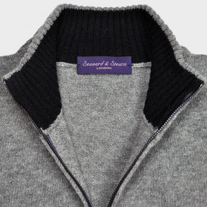 Merino Wool Zip Cardi in Grey with Navy Trim