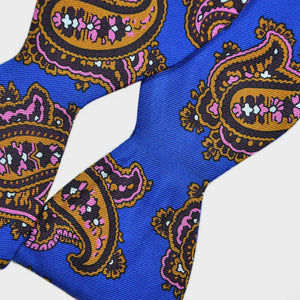 English Printed Silk Big Bold Paisley Bow Tie Royal Blue & Ochre