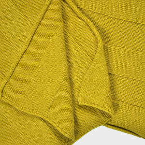 Extra Fine Merino Wide Rib Knit Wool Scarf in English Mustard