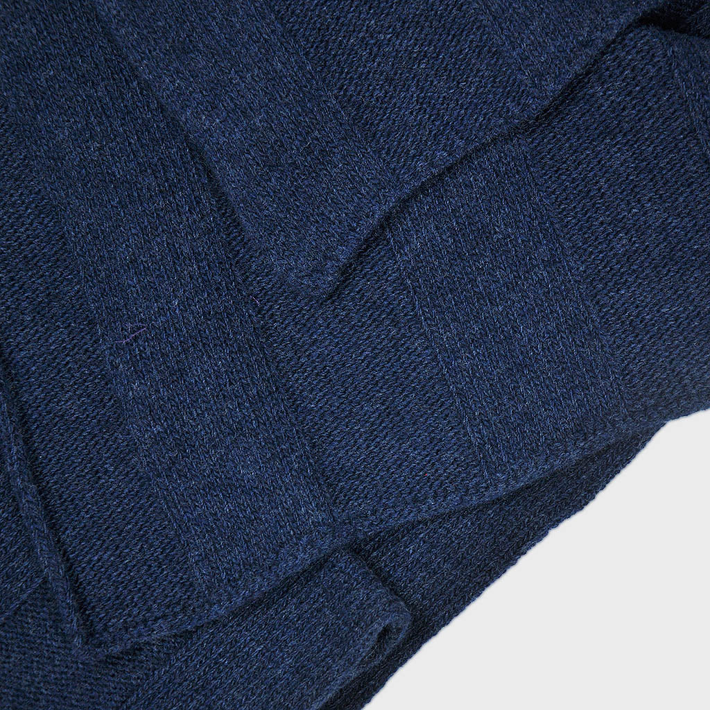 Extra Fine Merino Wide Rib Knit Wool Scarf in Denim Blue