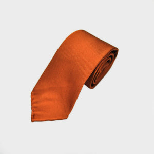 Hand Rolled Woven Silk Tie in Orange